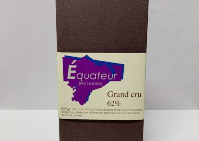 Plaque Grand cru Equateur (Rio Huimbi) 62%, 80g