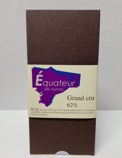 Plaque Grand cru Equateur (Rio Huimbi) 62%, 80g