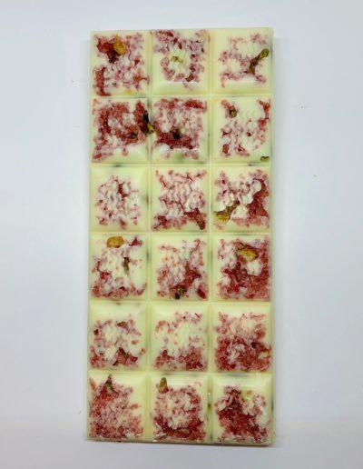 Plaque chocolat blanc pistaches-framboises 100g