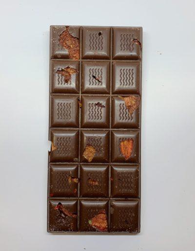 Plaque chocolat noir 52% fraise-poivre rose 100g