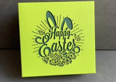 Boîte de pralinés «Happy Easter» sans alcool (4 pièces)/vert